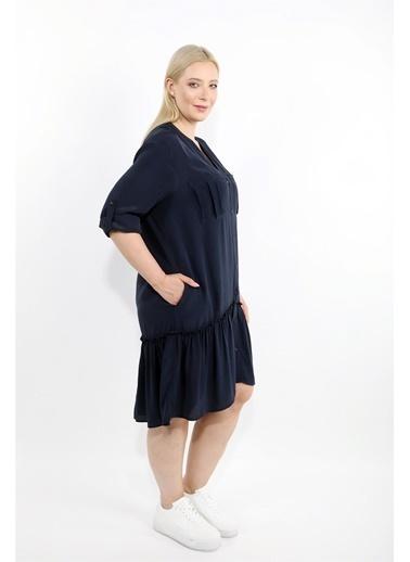 Luokk Mıka V Yaka Fırfır Detaylı Cepli Elbise Lacivert Lacivert